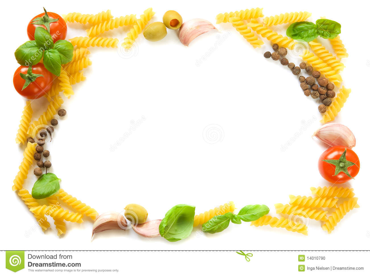 Pasta ingredients frame stock photo. Image of border ...