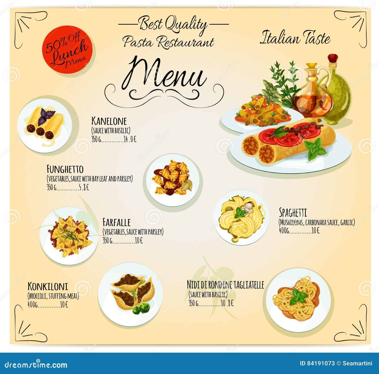 Pasta italian cuisine restaurant vector menu stock vector - Italian cuisine menu list ...