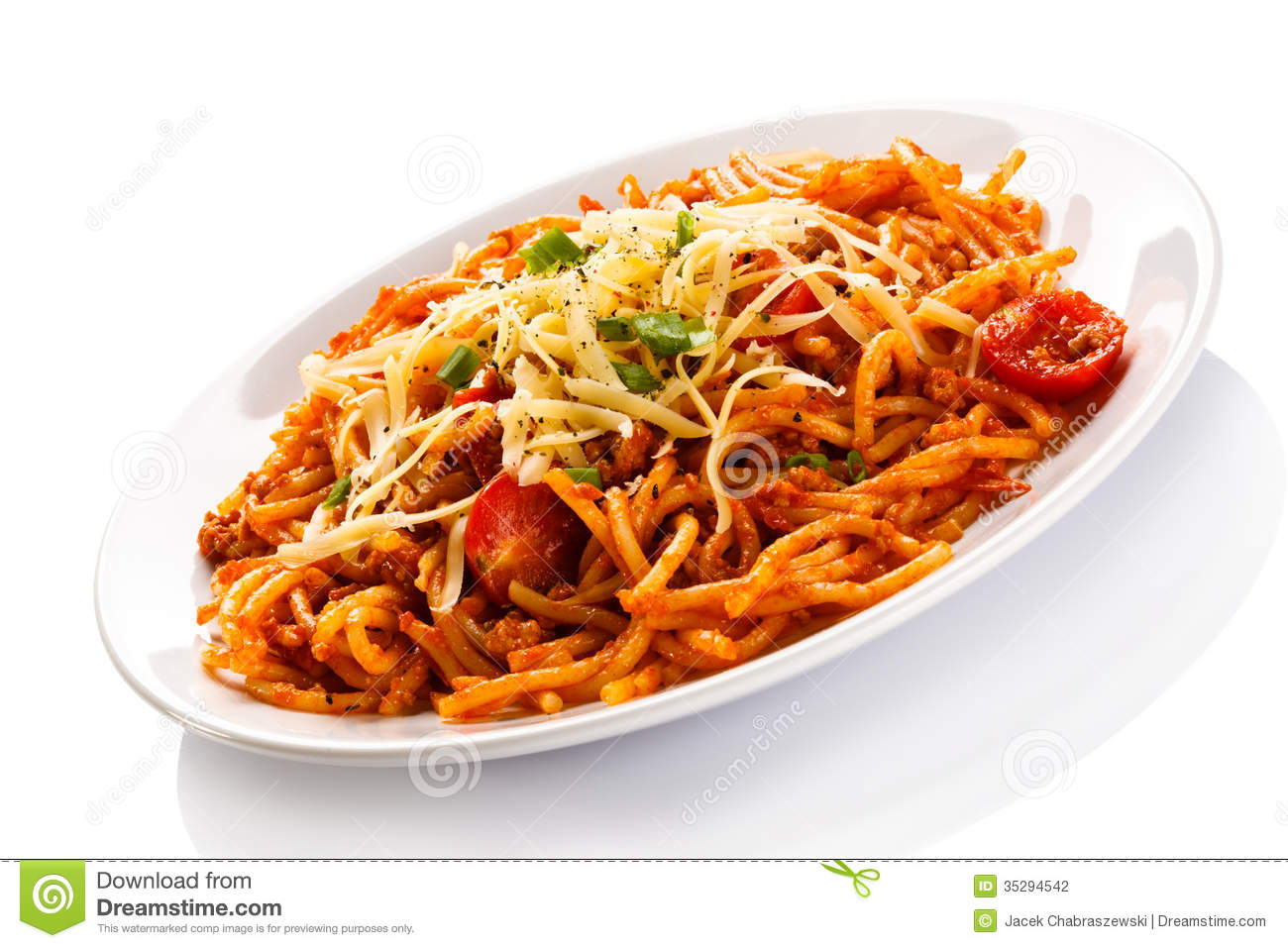 Pasta With Meat, Tomato Sauce, Parmesan And Vegetables ...
