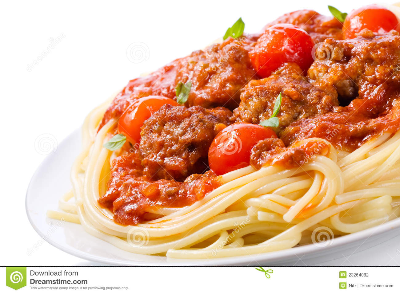 Pasta With Meatballs And Tomato Sauce Stock Photography - Image ...