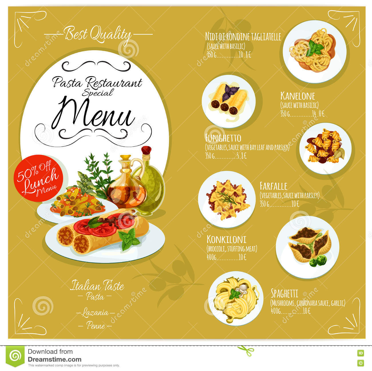 Pasta menu card template stock vector image of cuisine for Cuisine restaurant