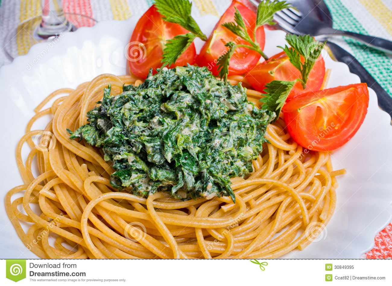 Pasta With Nettles Sauce Royalty Free Stock Photo - Image: 30849395