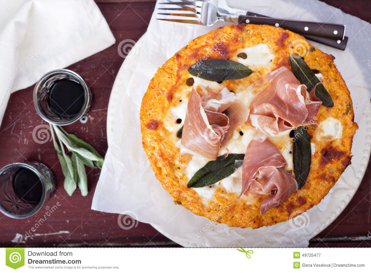 Pasta Pie With Cheese Sauce And Sage Stock Photo - Image: 49725477