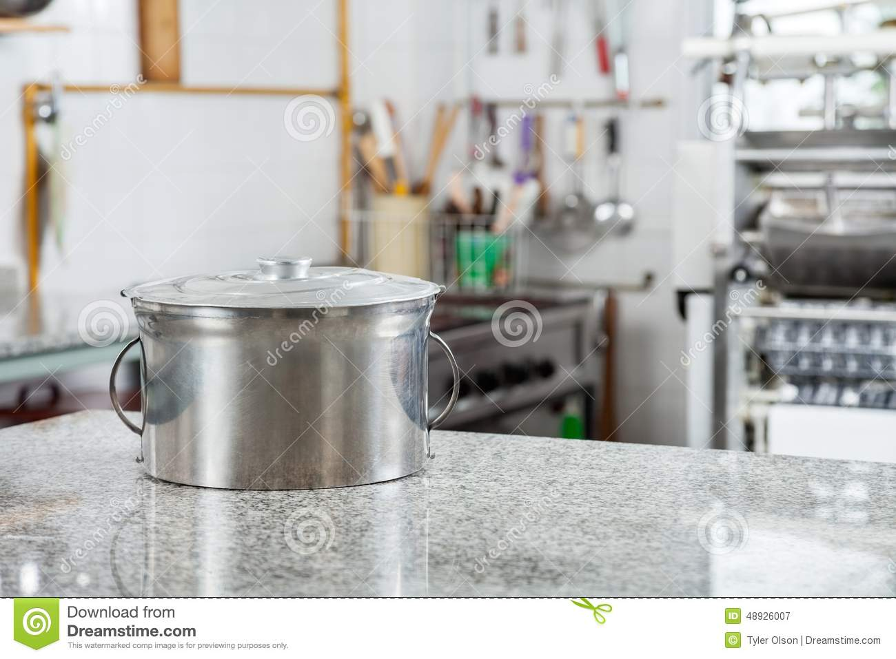 Pasta Pot On Countertop In Commercial Kitchen Stock Photo - Image ...