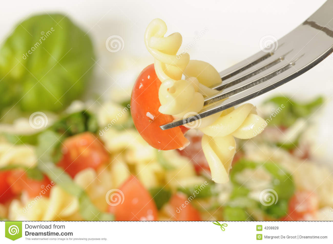Download Pasta salad close-up stock photo. Image of delicious, eating - 4208828