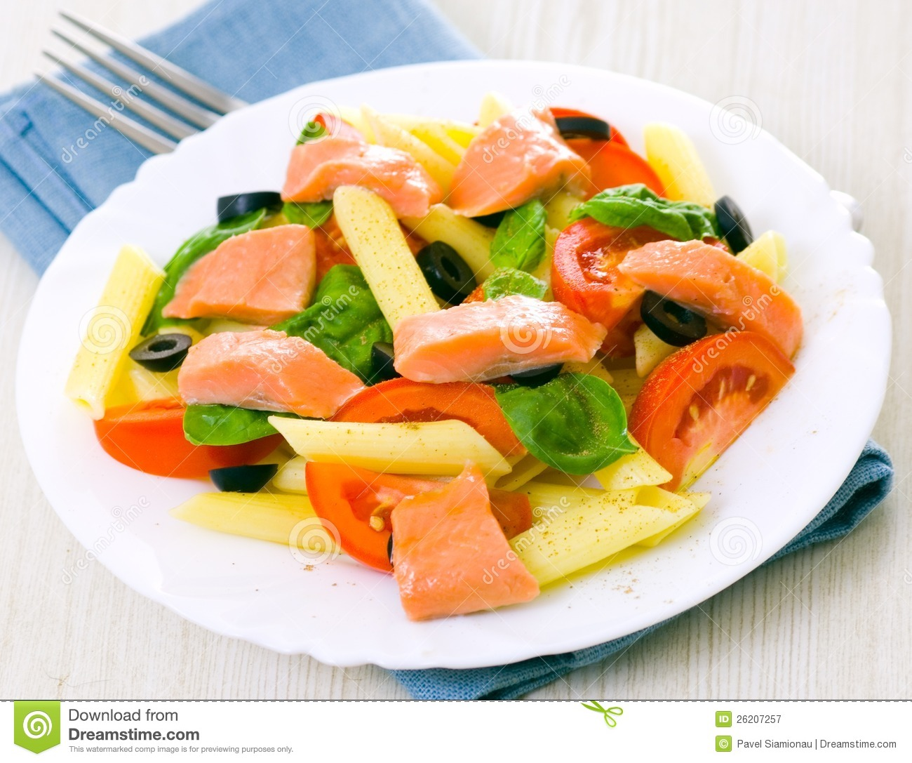 More similar stock images of ` Pasta salad with fish `