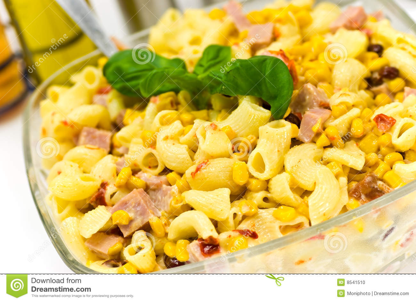 A pasta salad with ham