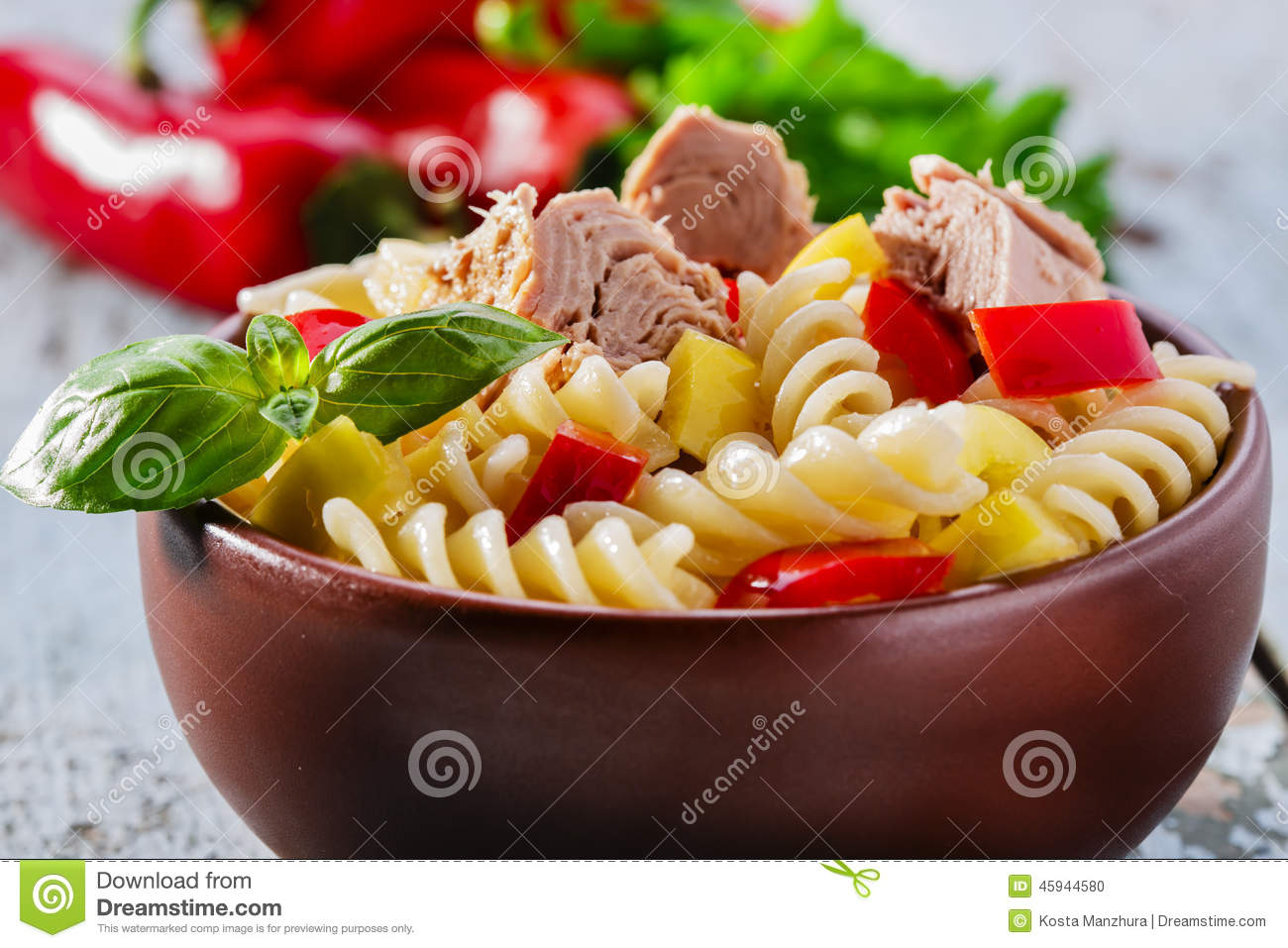 Pasta Salad With Tomato, Mozzarella, Pine Nuts And Basil Royalty-Free ...
