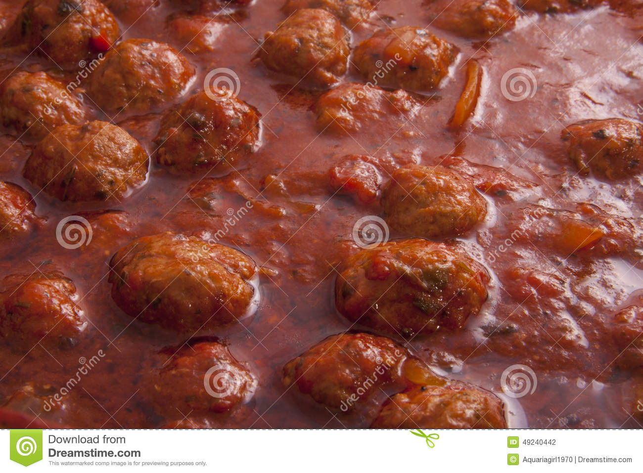 Italian pasta sauce with meatballs for background use.