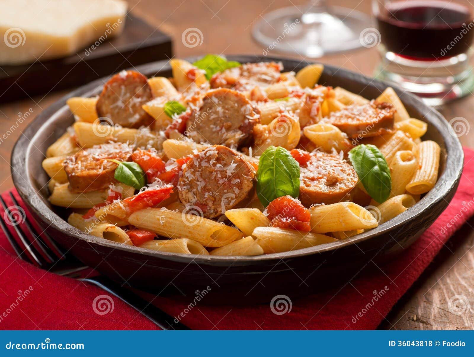 Pasta With Sausage Royalty Free Stock Photos - Image: 36043818