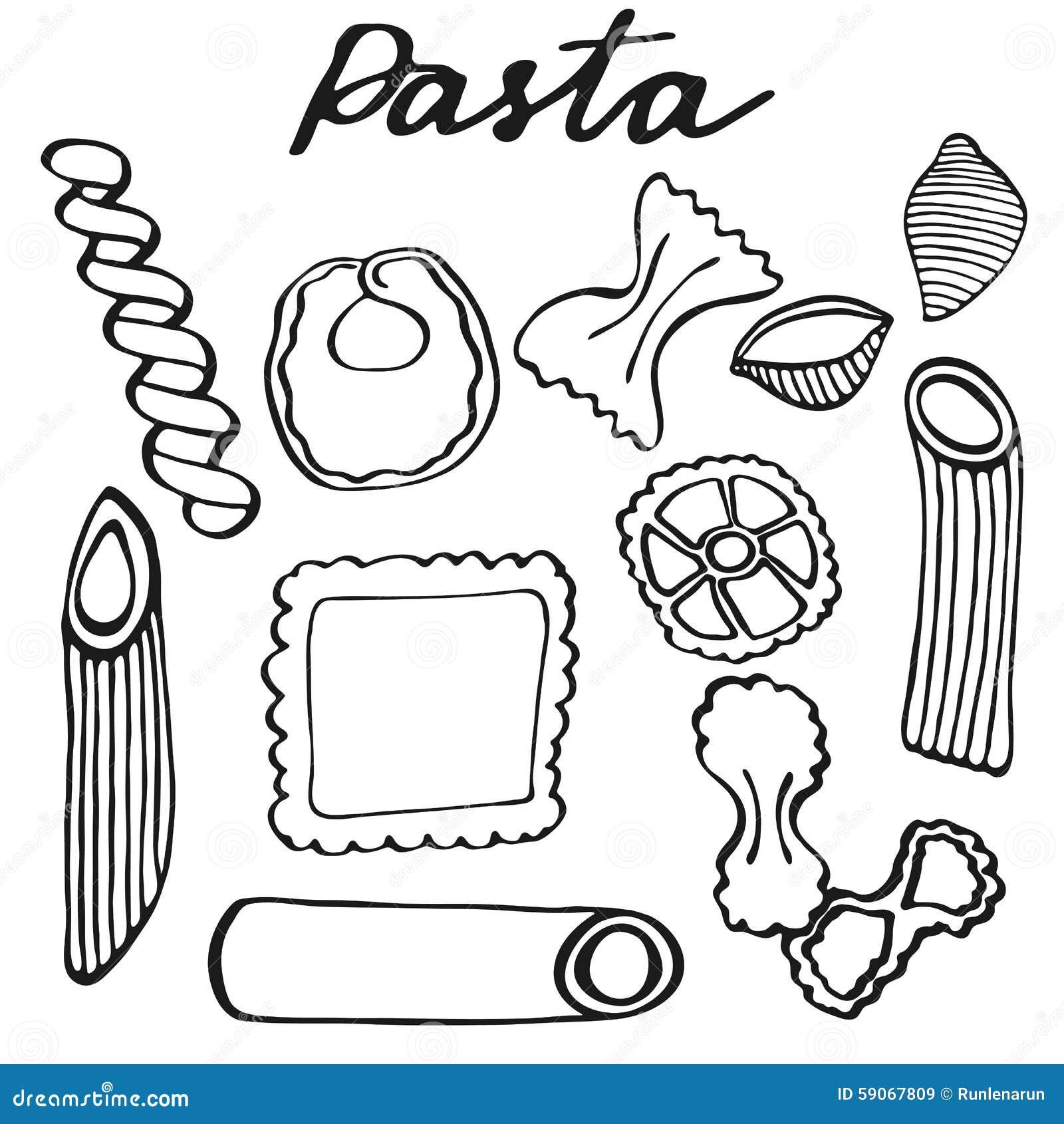 Pasta set hand drawn cartoon kinds of pasta doodle for How to make doodle art