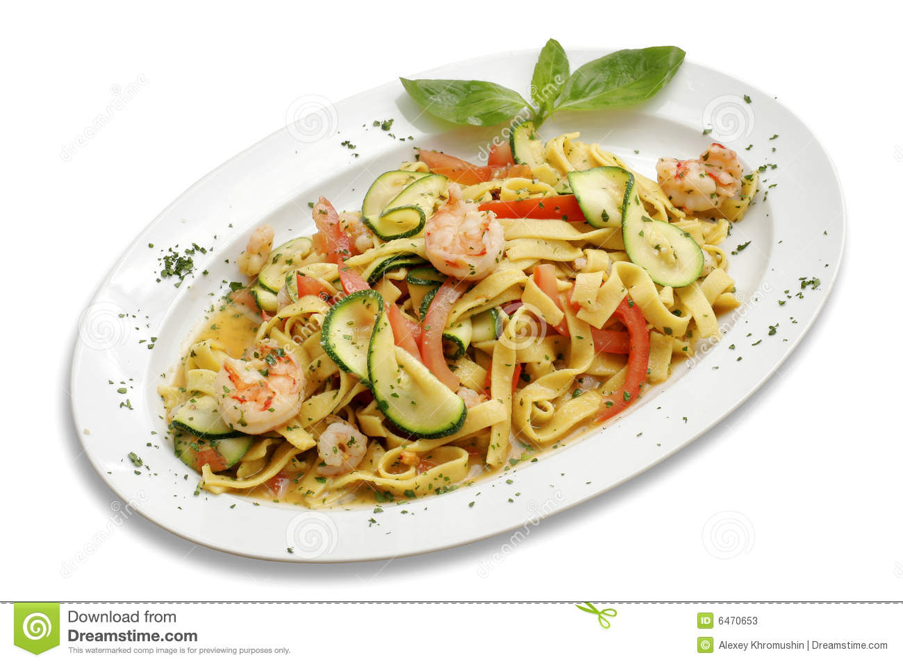 Pasta With Shrimps Stock Photos Image 6470653