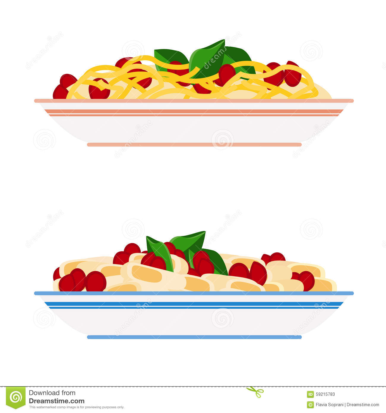 Piatto Mediterranean Kitchen: Pasta And Spaghetti Plates Stock Vector. Image Of Health