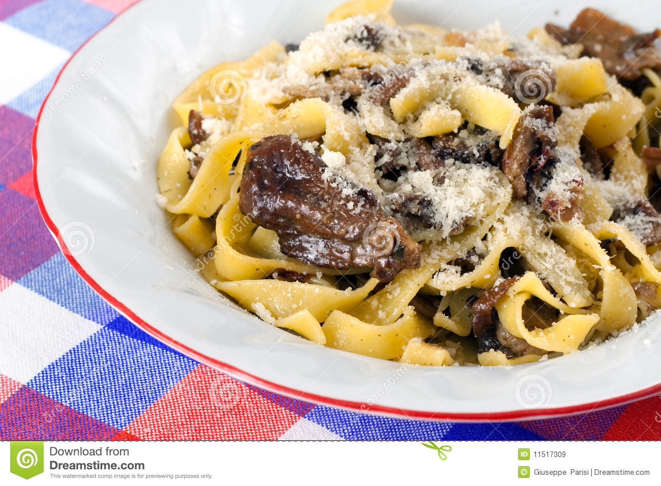 course of pasta tagliatelle with fresh Porcini mushrooms and grated ...