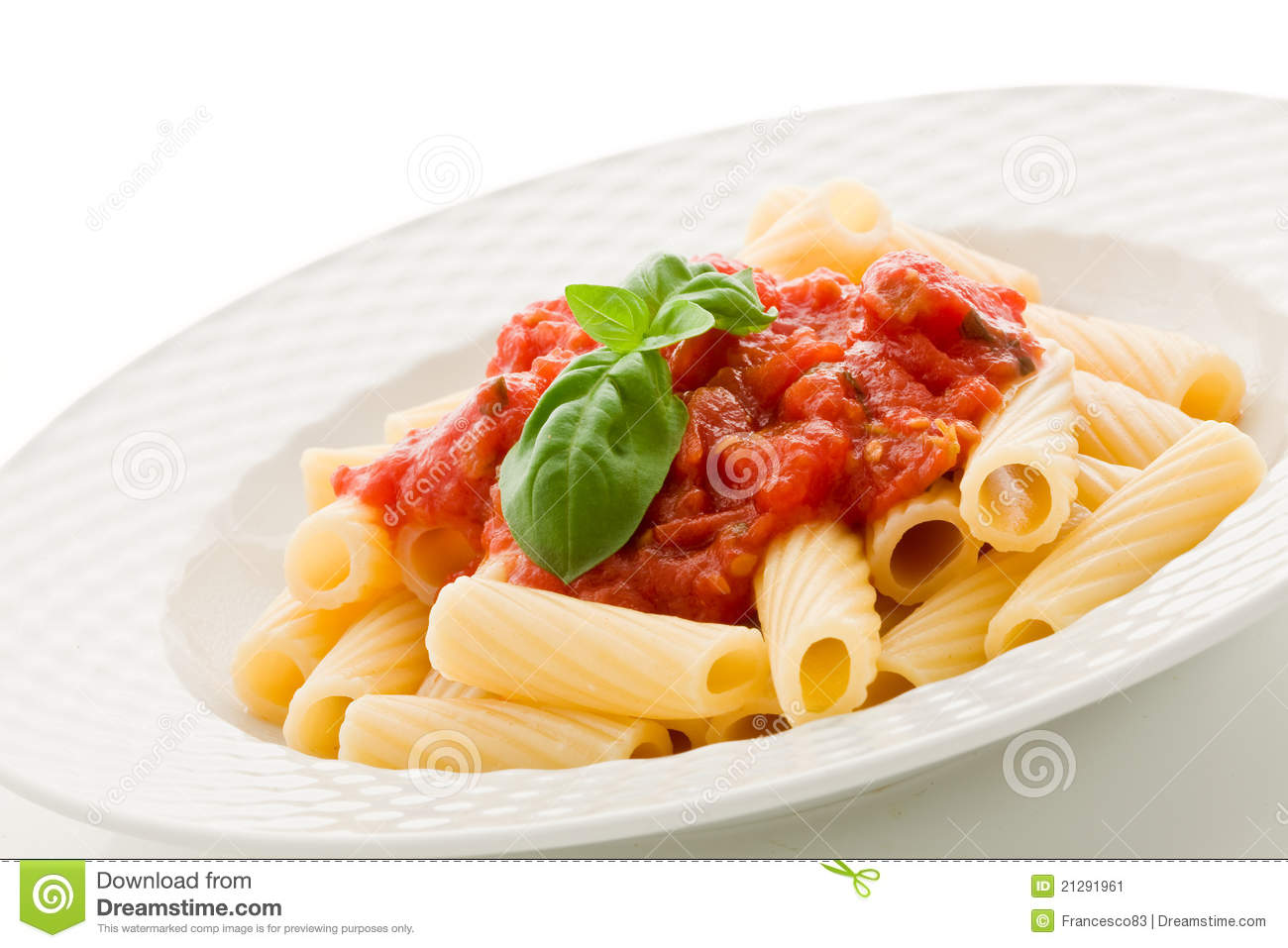 Pasta With Tomato Sauce And Basil Stock Image - Image ...