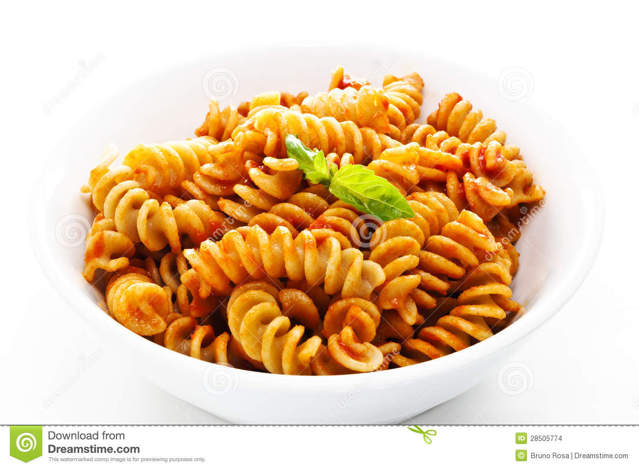 Pasta With Tomato Sauce And Basil Stock Images - Image: 28505774