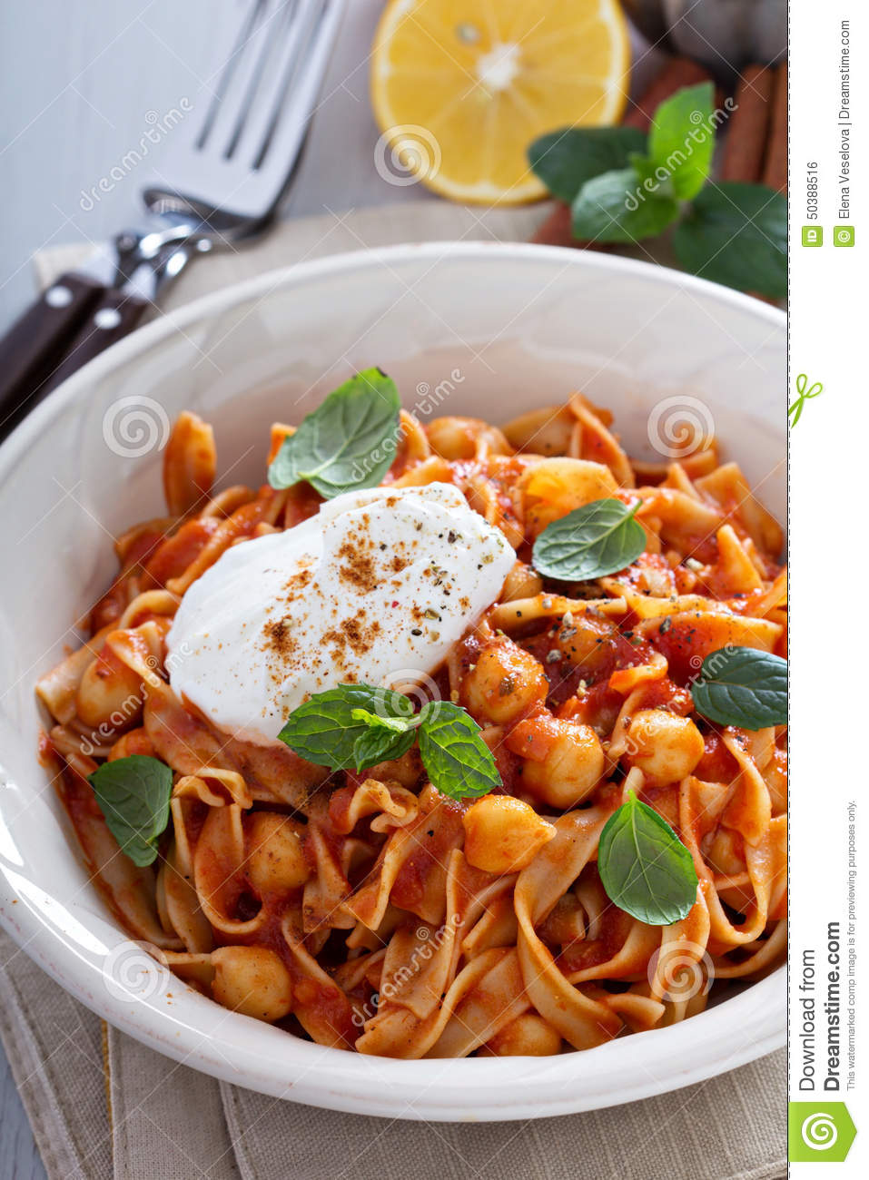 Pasta With Tomato Sauce And Chickpeas Stock Photo - Image: 50388516