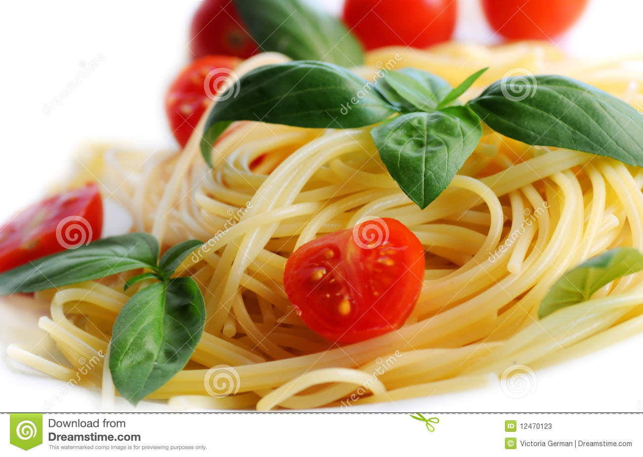 Pasta With Tomatoes And Basil Stock Photos - Image: 12470123