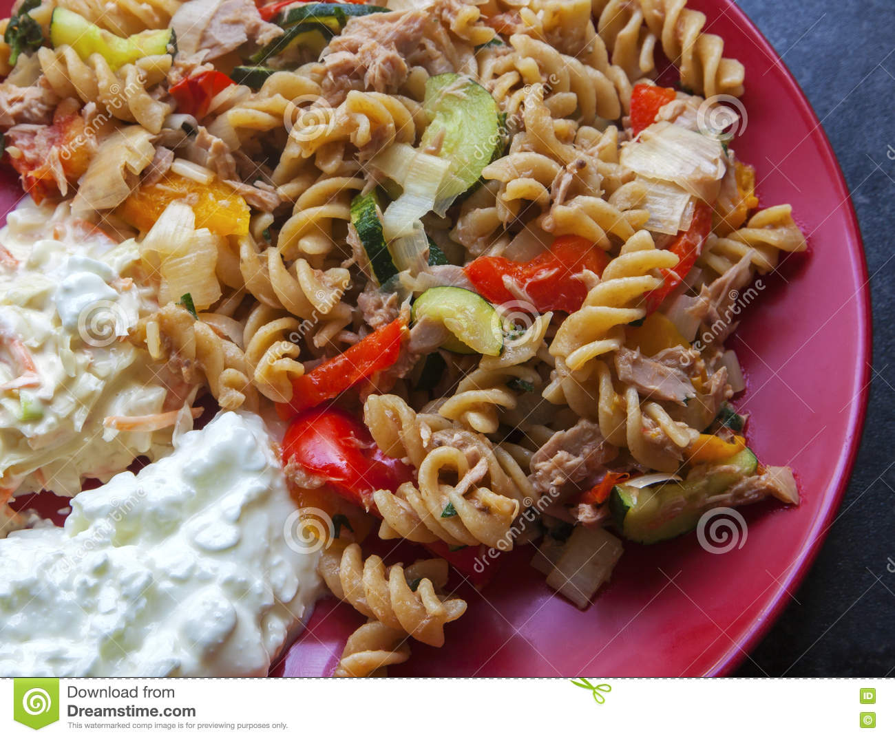 pasta with tuna vegetables cottage cheese coleslaw cooking