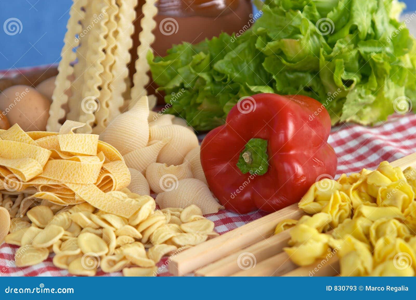 Pasta, vegetables, egg