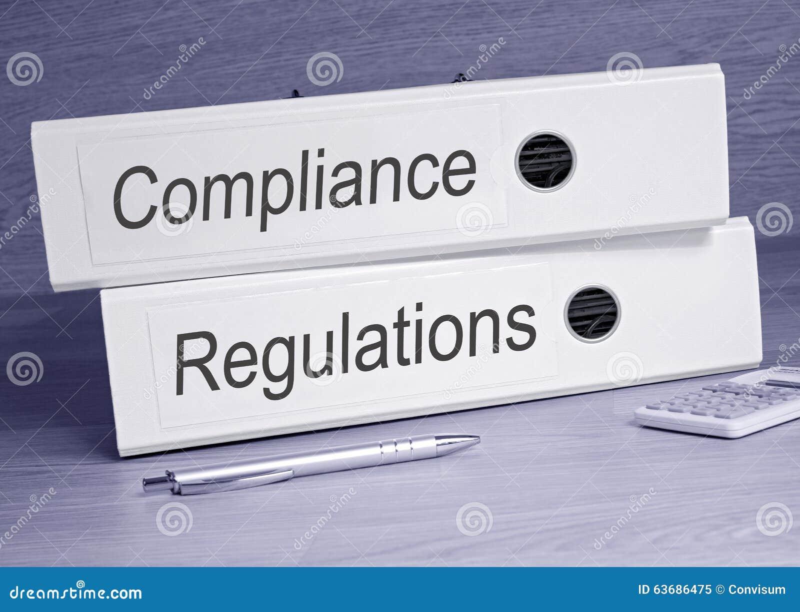 Pastas da conformidade e dos regulamentos