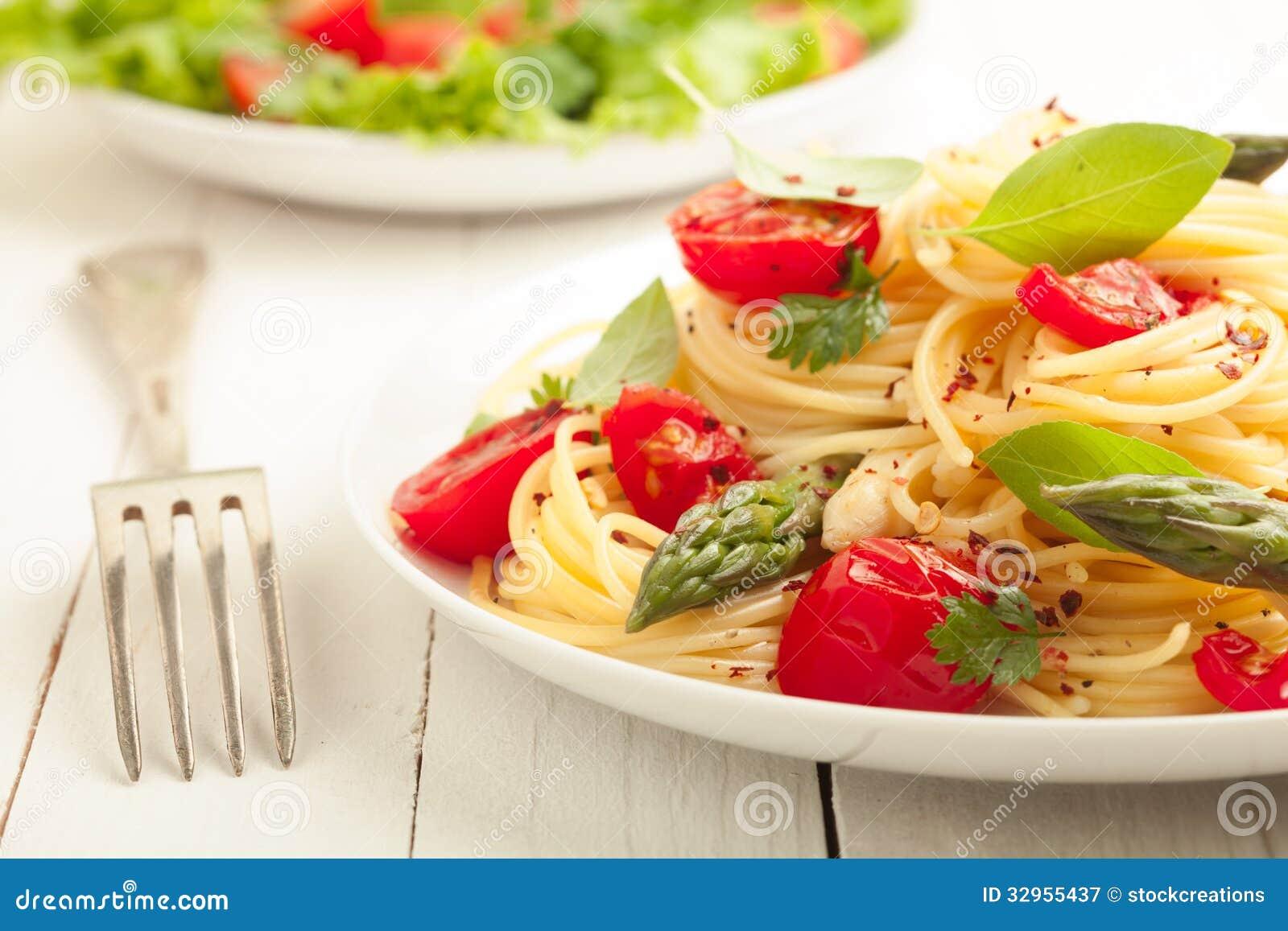 Pastas vegetarianas de los espaguetis