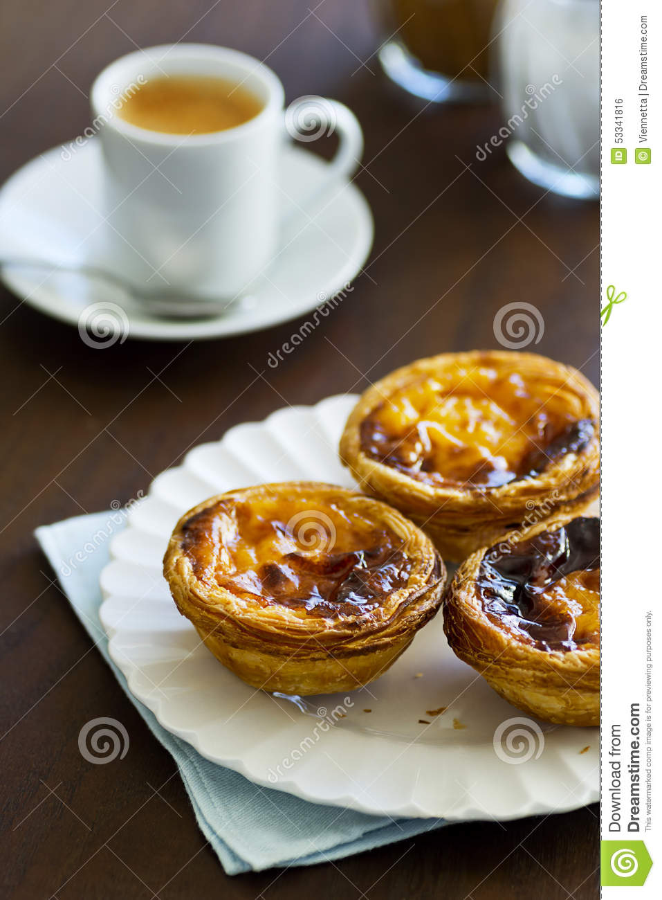 pasteis de nata with espresso in a cafe stock photo. Black Bedroom Furniture Sets. Home Design Ideas