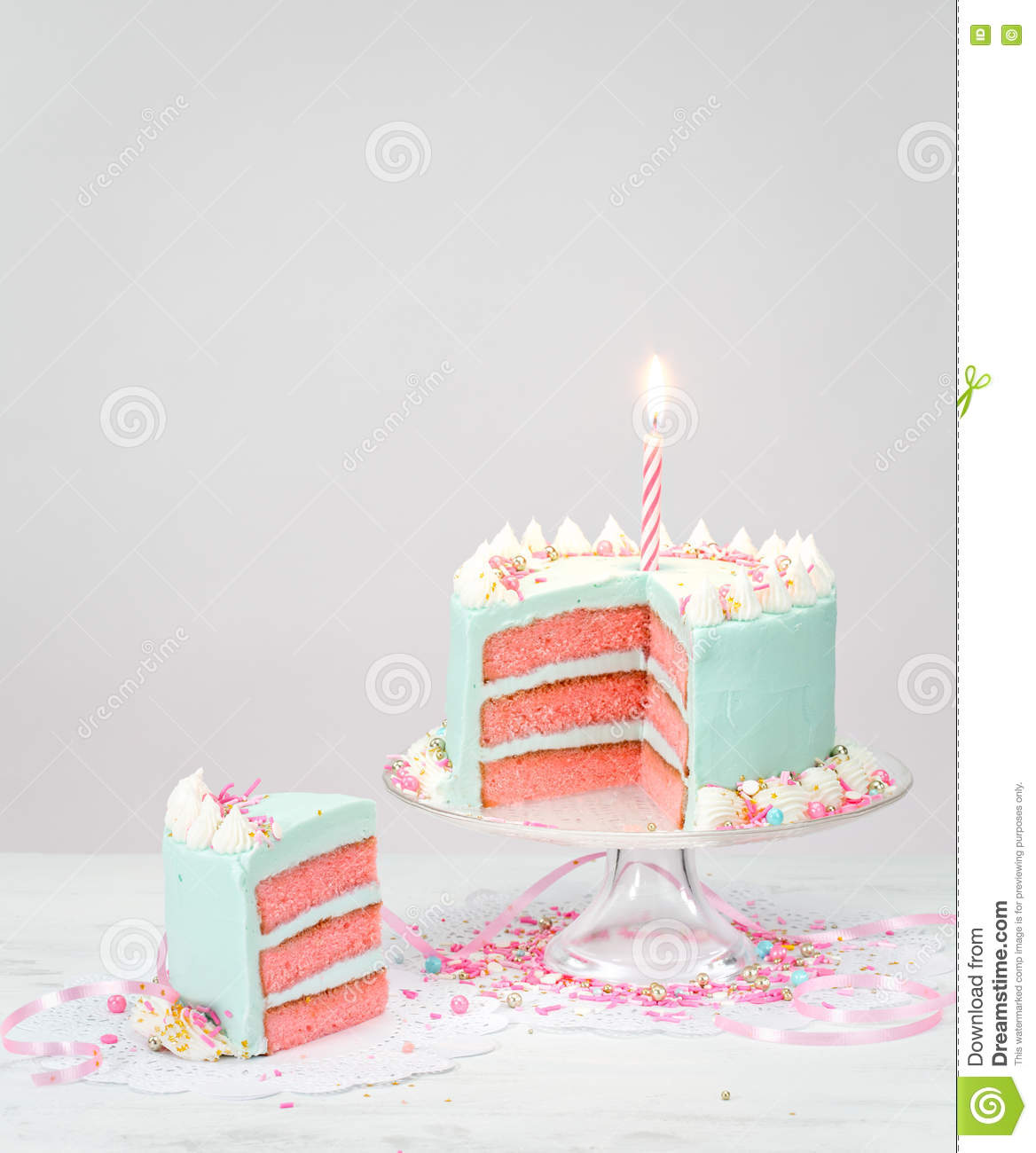 Pastel Blue Birthday Cake With Pink Layers Stock Photo