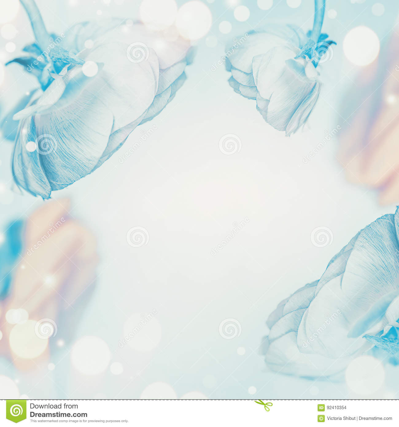 Pastel Blue Floral Background With Bokeh Stock Photo Image Of