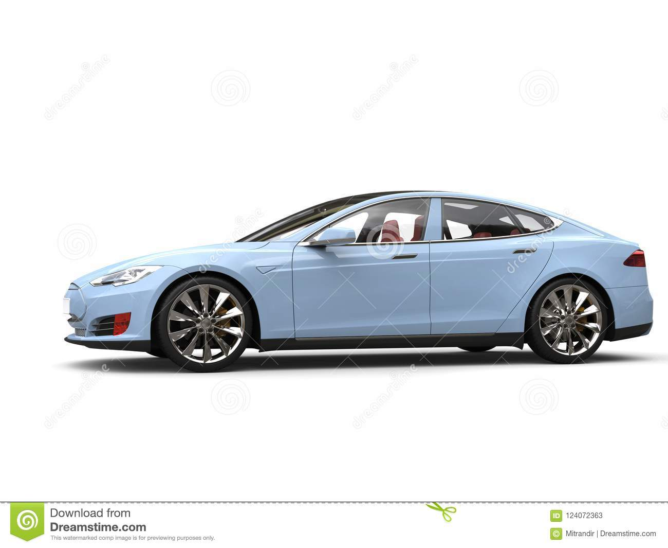 Pastel Blue Modern Electric Sports Car Stock Illustration Illustration Of Pastel Isolated 124072363