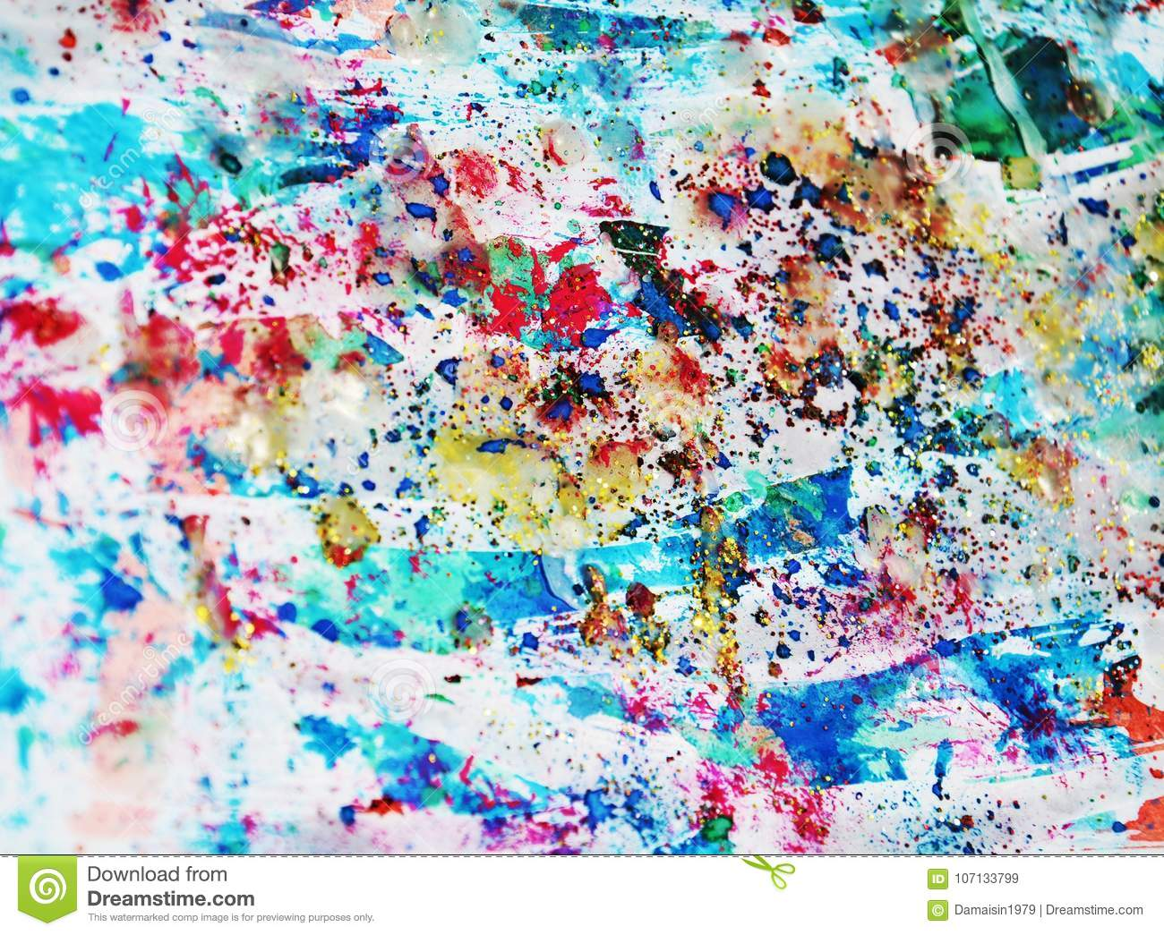 Pastel blue red paint, waxy spots, watercolor paint, colorful hues
