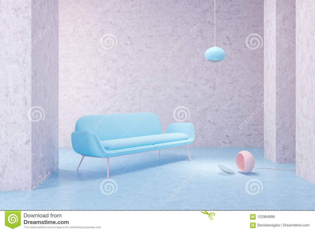 Download Blue Sofa In Empty Pink Living Room Stock Illustration    Illustration Of Couch, Lifestyle