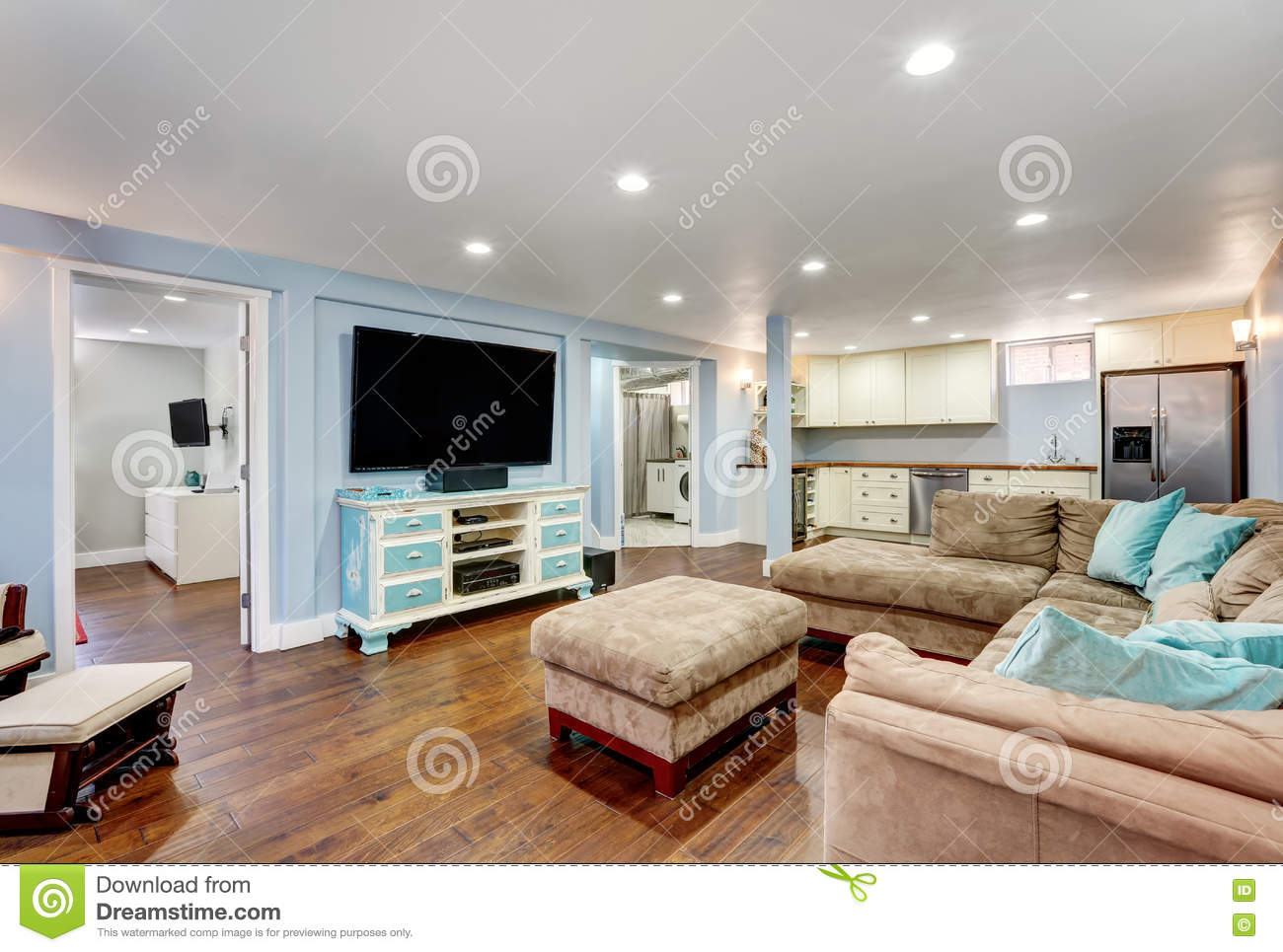 Basement Living Pastel Blue Walls In Basement Living Room Interiorstock Photo