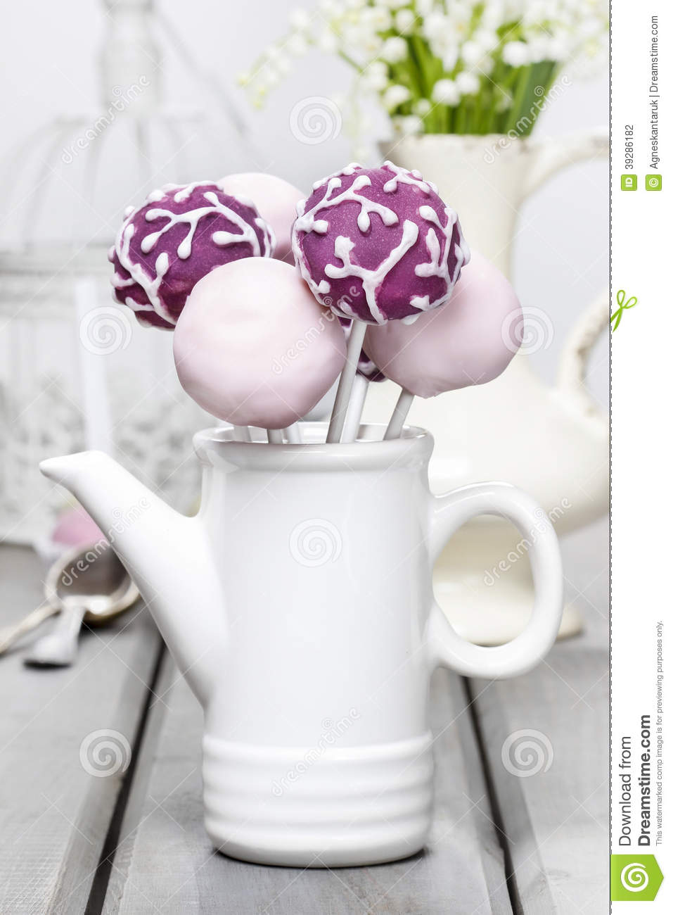 Pastel Cake Pops On Rustic Grey Wooden Table Stock Photo Image Of