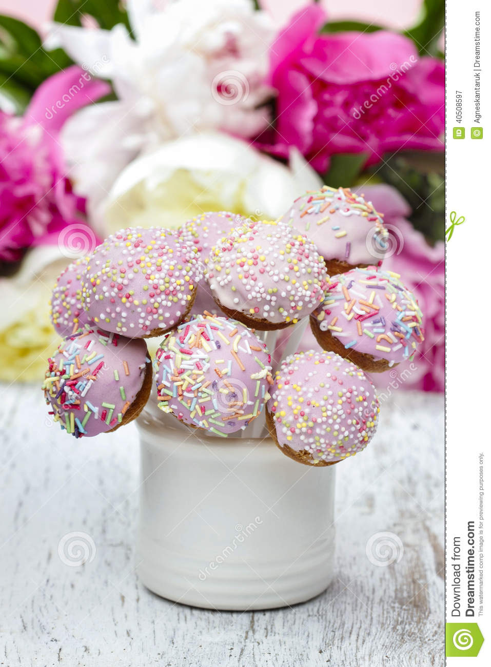 Pastel Cake Pops On Rustic Wooden Table Stock Image Image Of