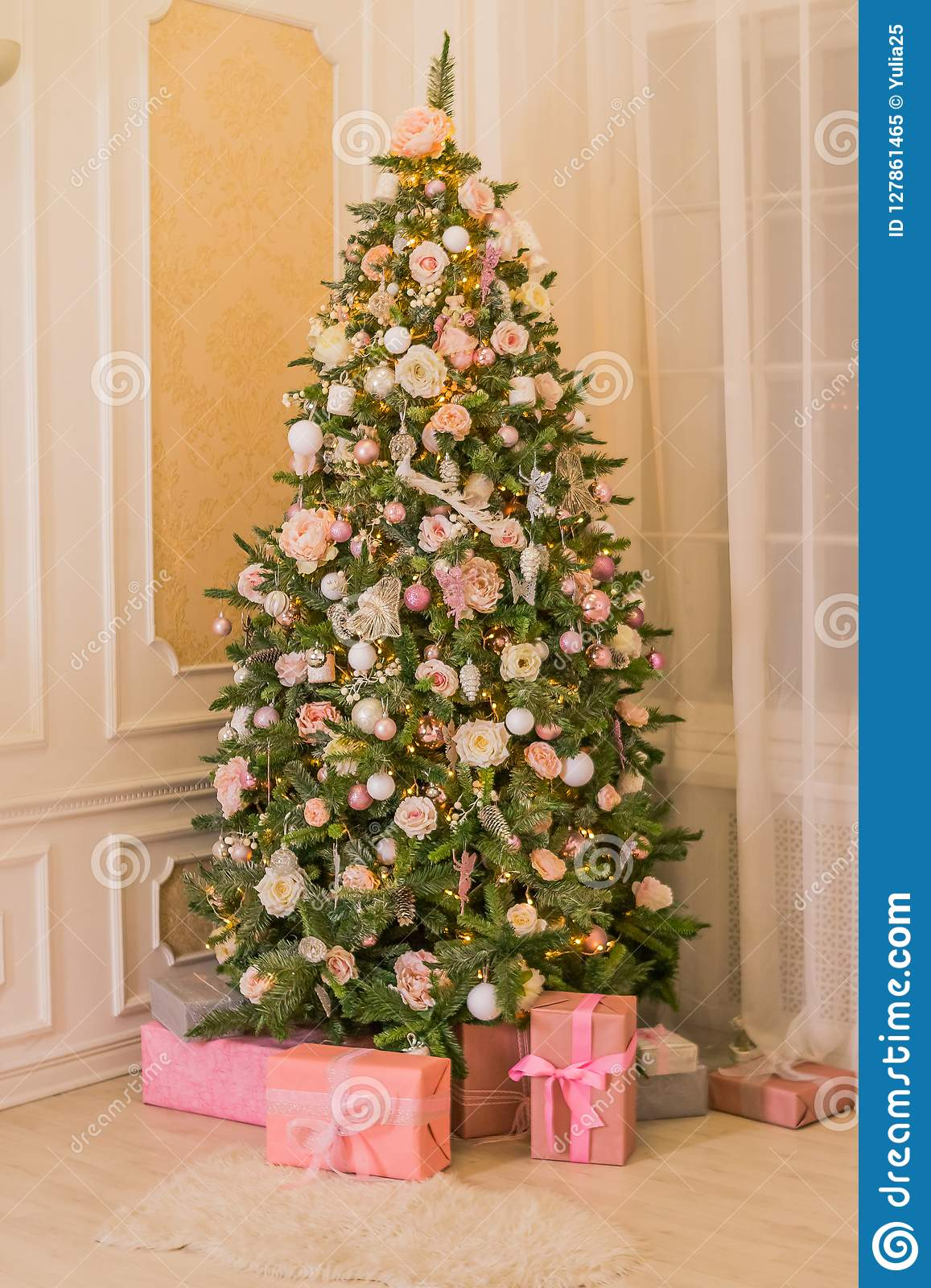 Pastel Christmas Elegant Christmas Tree With Decorations And Gifts
