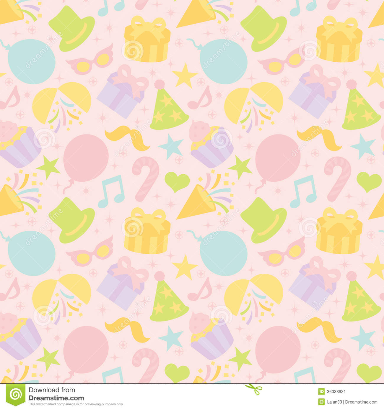 Pastel Color Background With Party Goods. Stock Image - Image ...