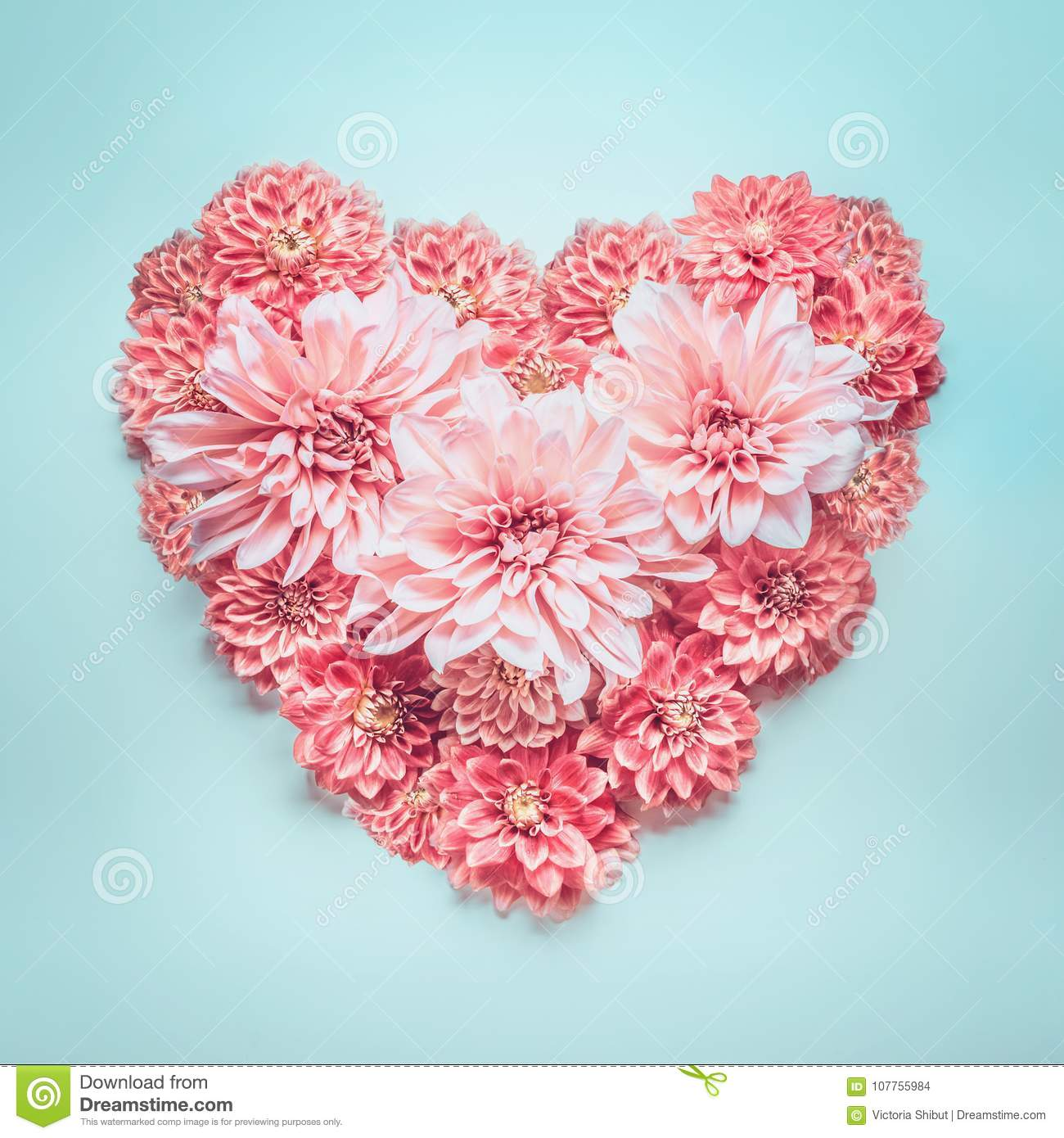 Pastel color heart made of lovely pink flowers on turquoise blue download comp mightylinksfo
