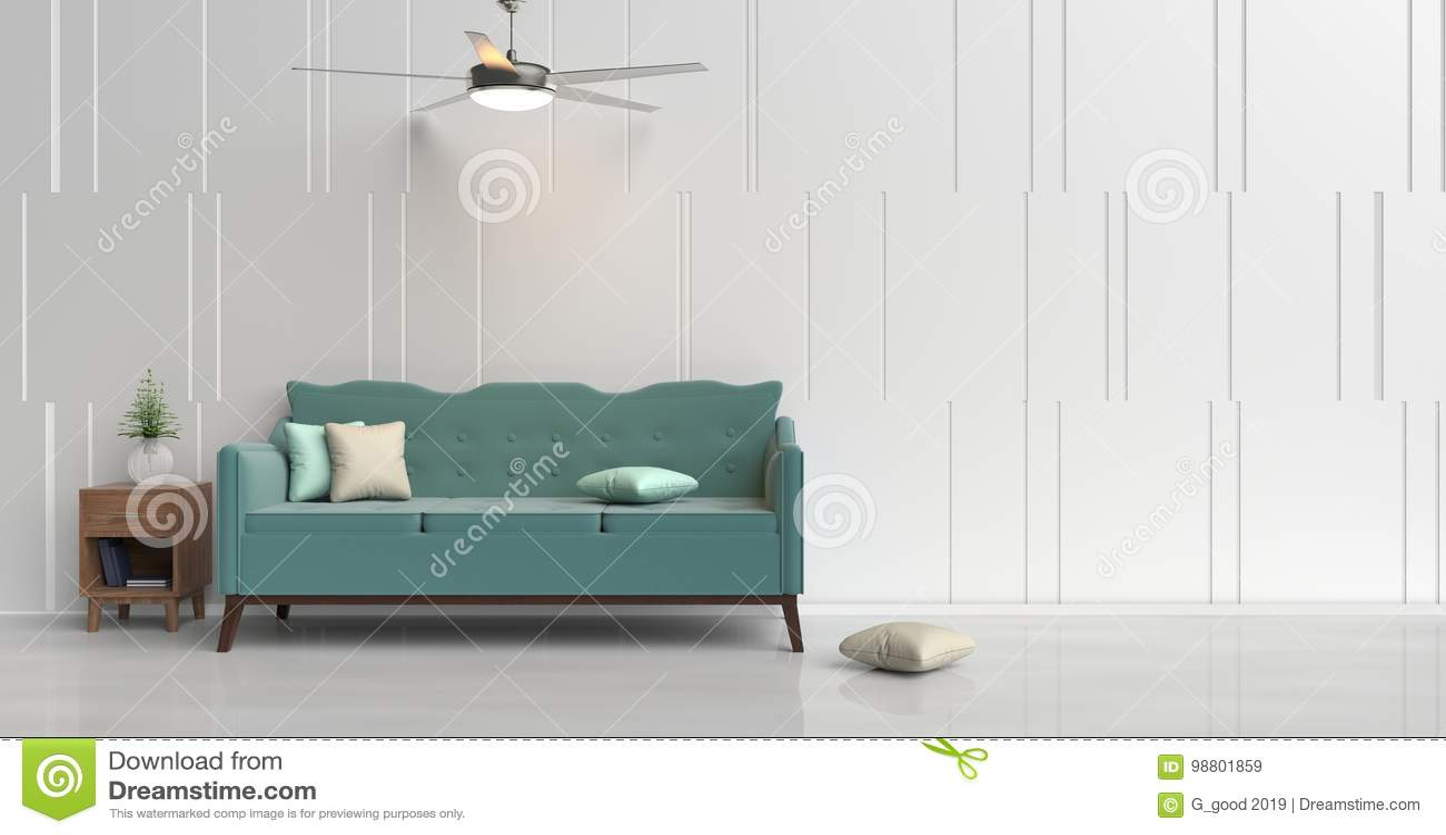 Pastel color living room. stock illustration. Illustration of cement ...