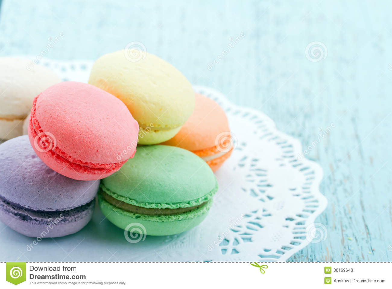 Pastel Color Macaroons On Blue Background Stock Photos - Image ...