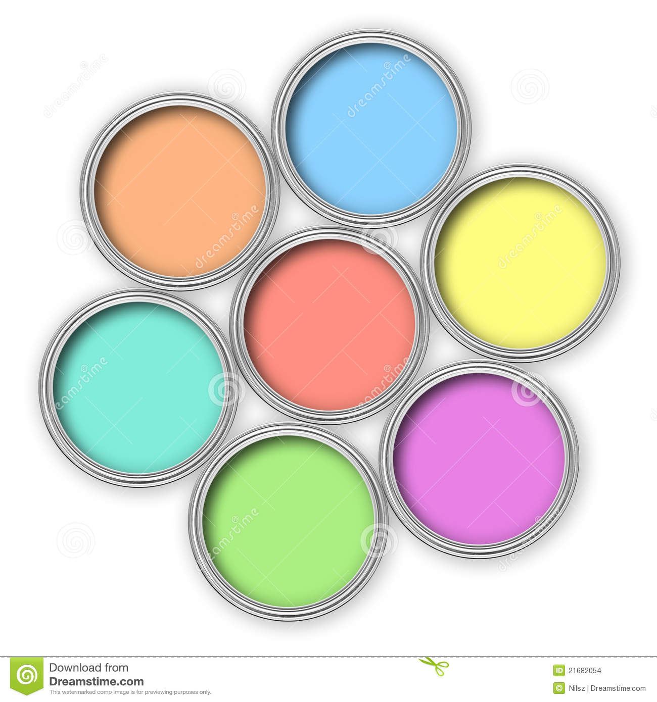 Pastel Color Paint Buckets Stock Images Image 21682054