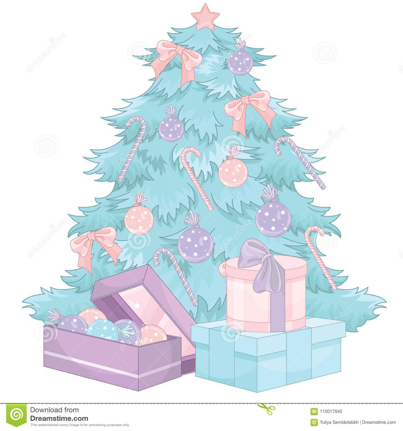 pastel decorated colored christmas tree and pink green purple gifts - Pastel Green Christmas Decorations