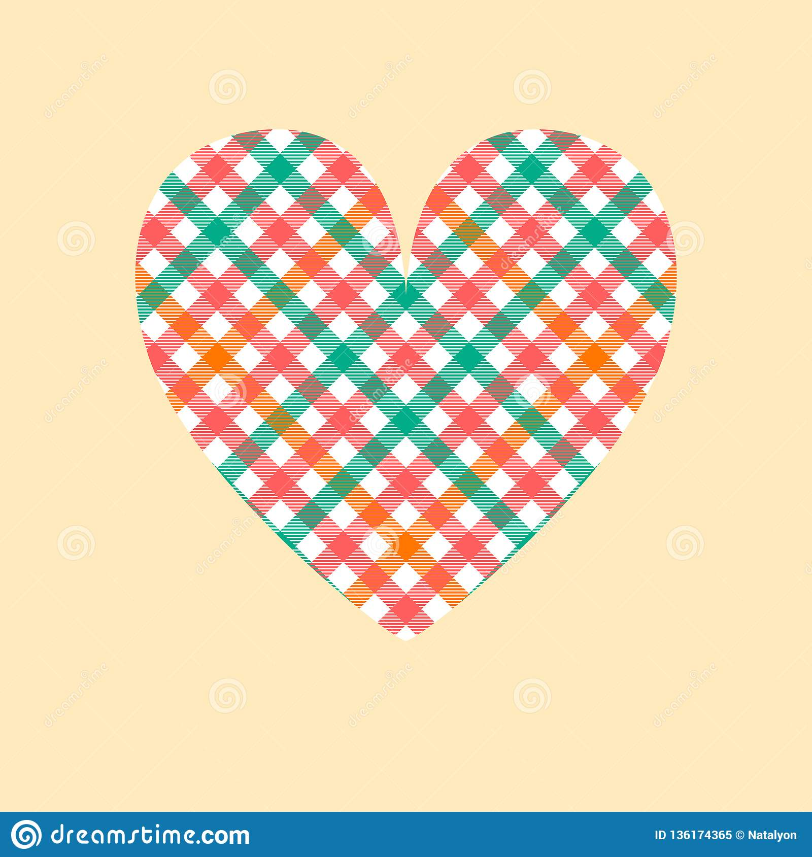 Pastel colored tartan checkered heart on beige card template, vector
