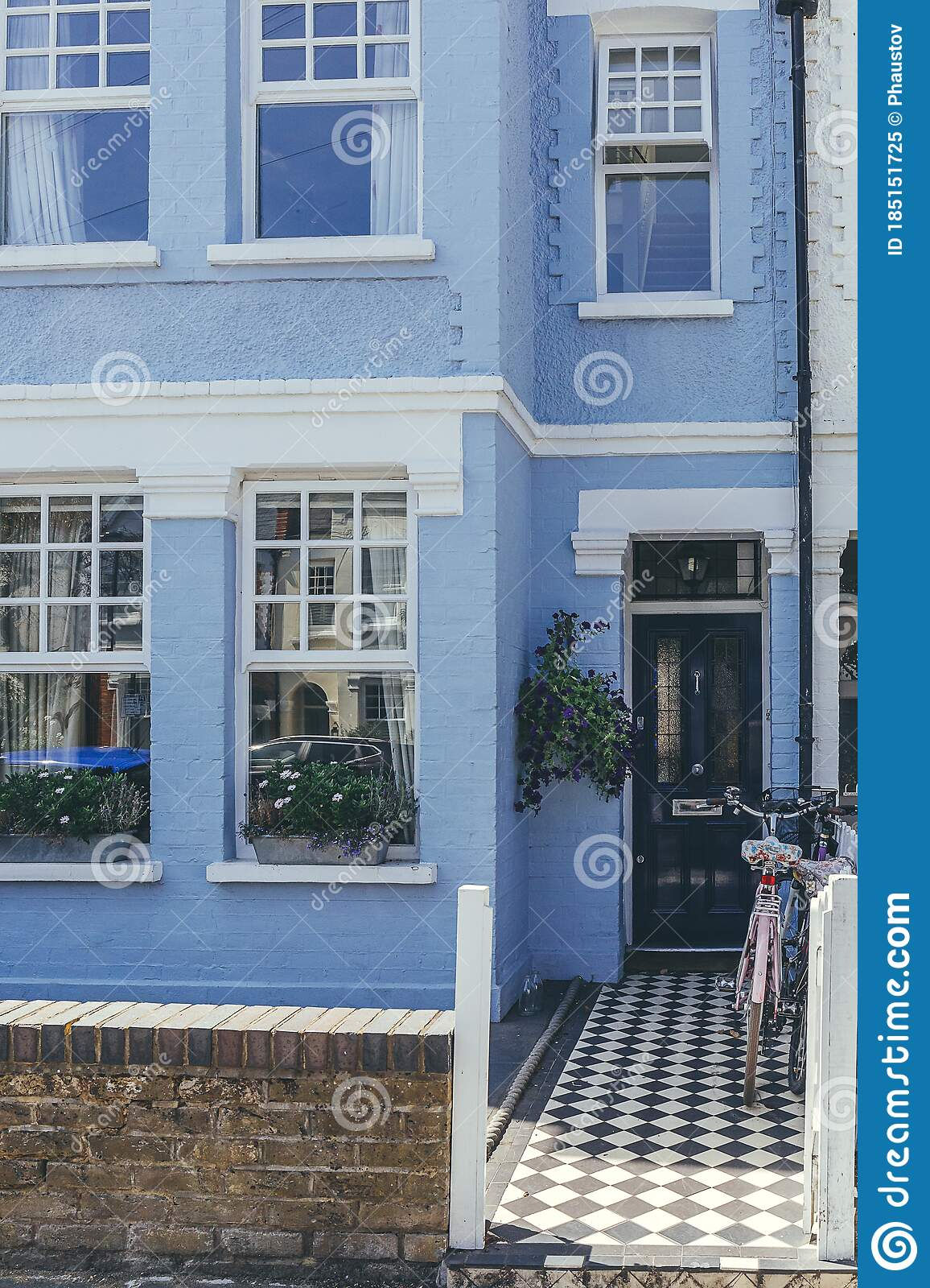 Pastel Colored Terraced Houses On White Hart Lane In Barnes London Editorial Image Image Of Modern Exterior 185151725