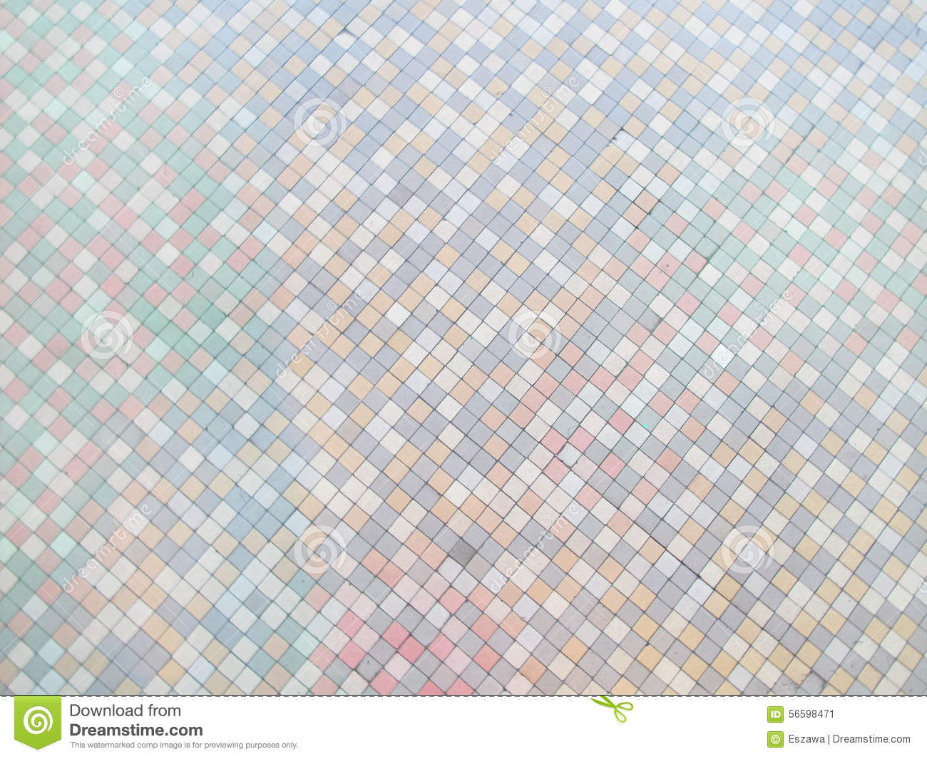 Pastel Colors Mosaic Tile Background Floor In Antique