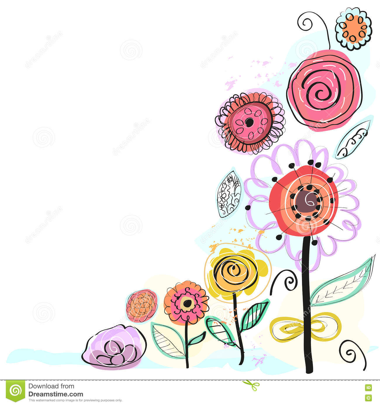 Pastel Coloured Spring Flowers Decorative Floral Greeting Card