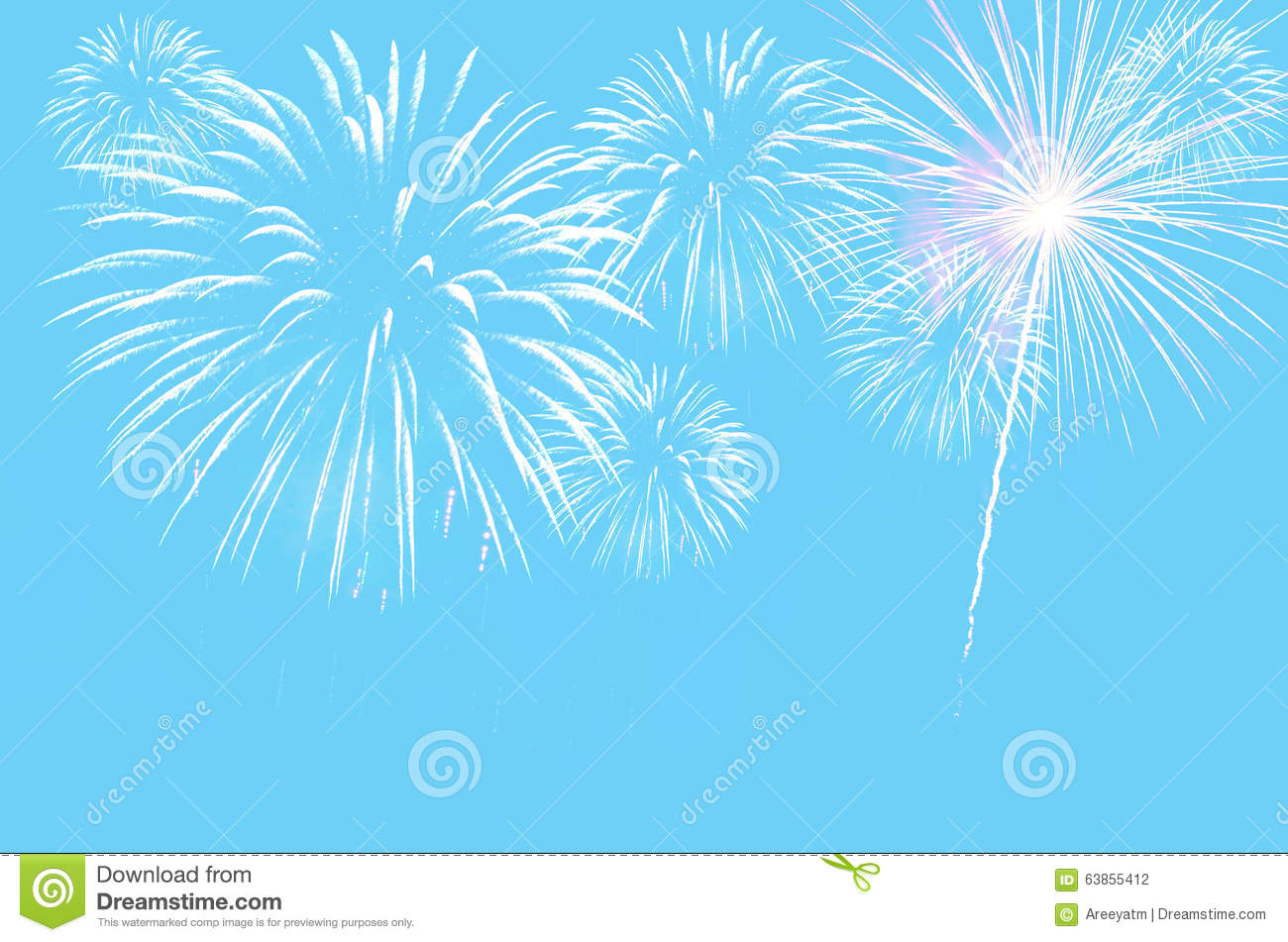Pastel Cyan Colour Background With Fireworks Stock Photo