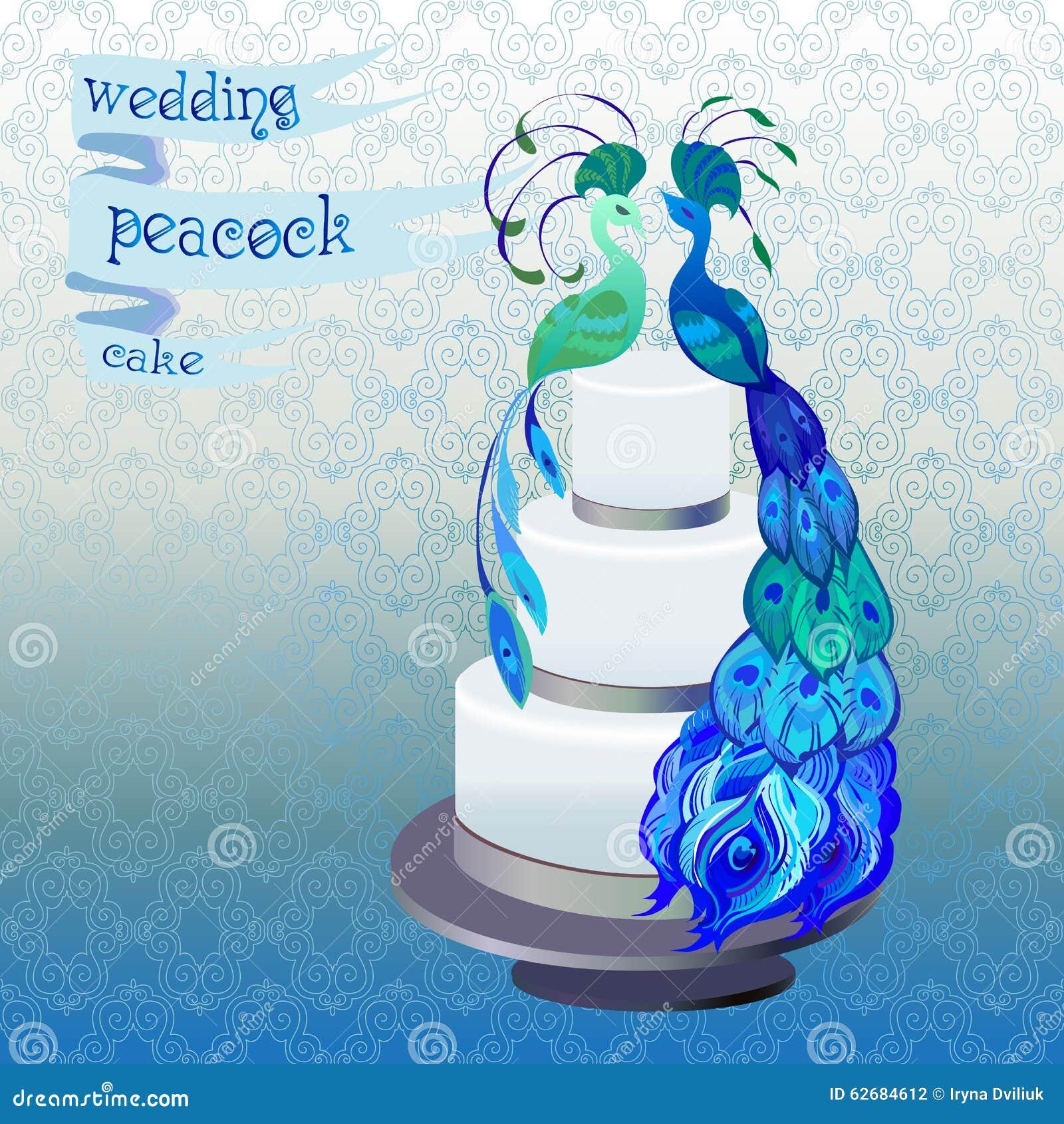 Pastel de bodas con los pavos reales de los pares Diseño azul, verde del vector