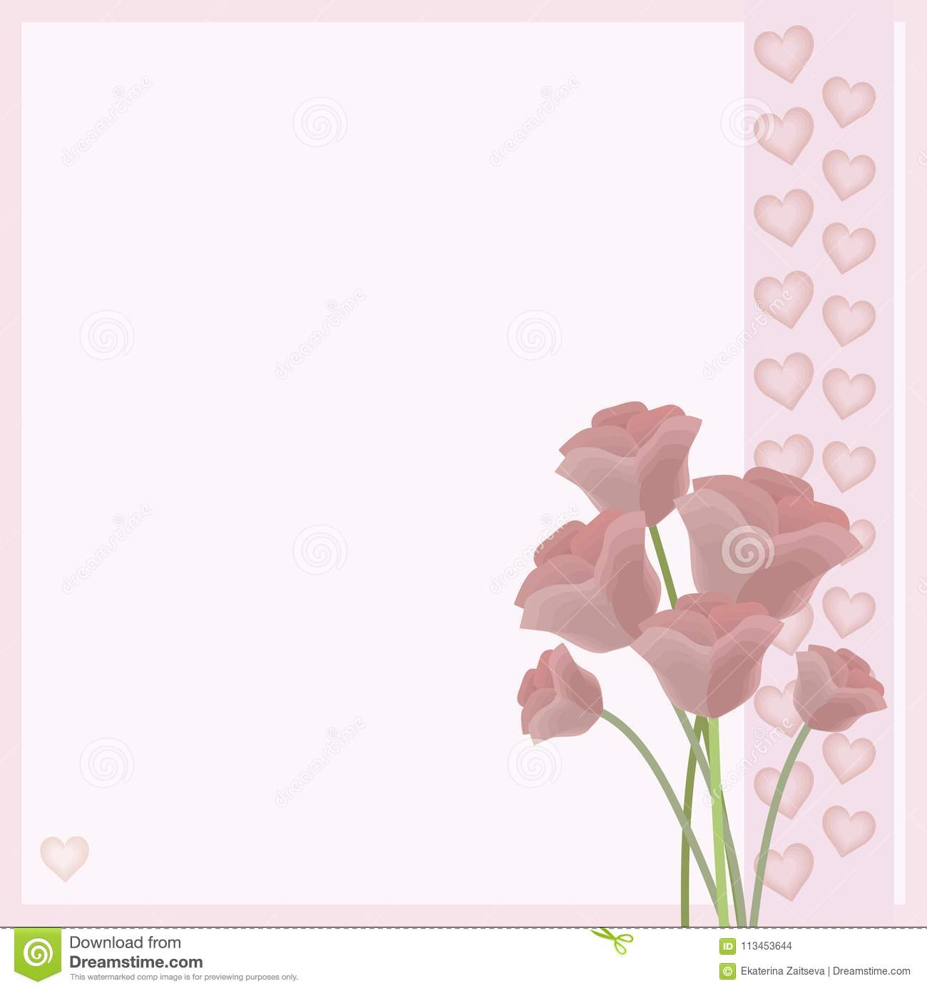 Pastel Delicate Pink Flowers Rose Bouquet Background Pattern Of