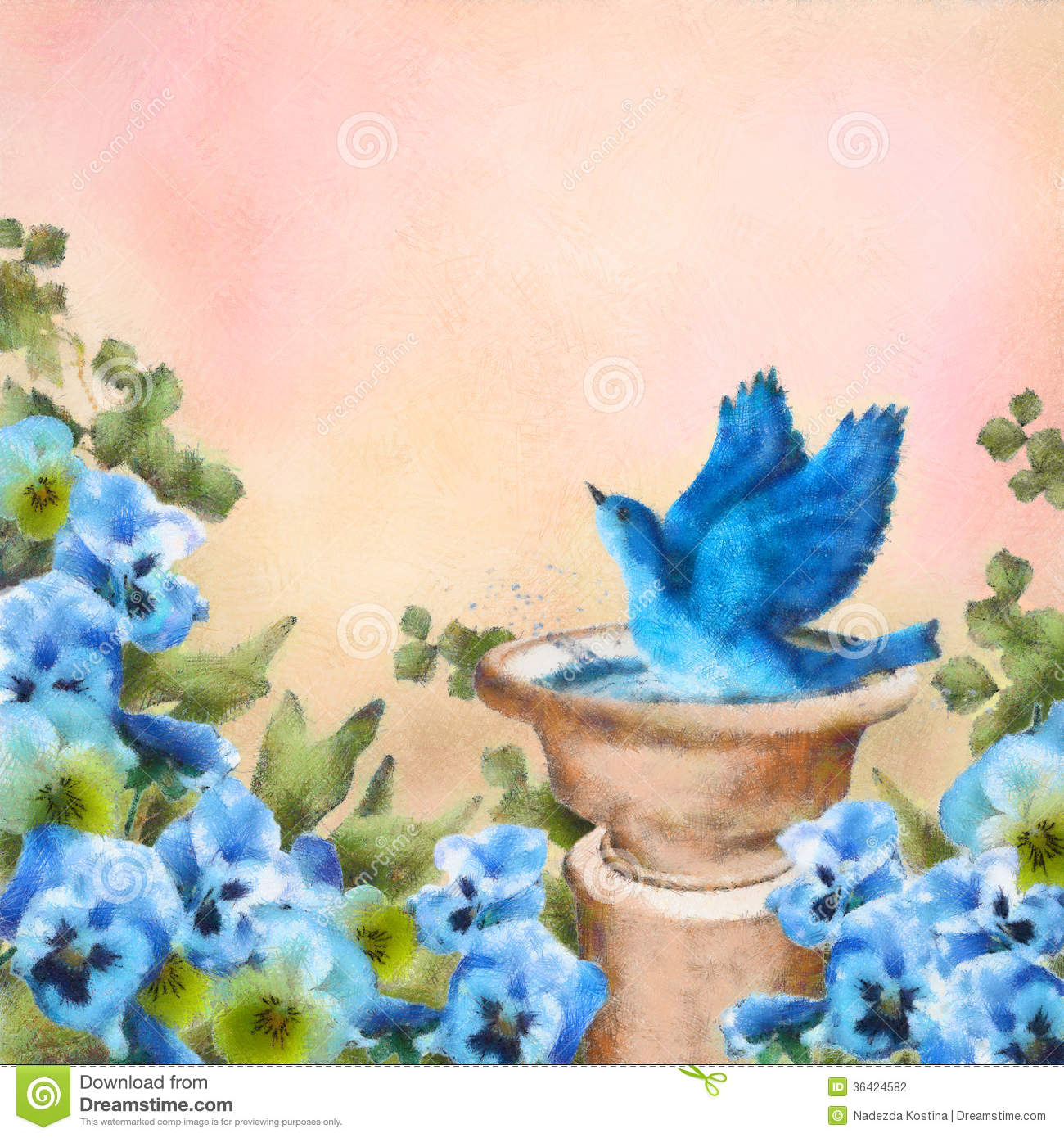 Romantic Pastel And Watercolor Drawing Garden Scene Bluebird Splashing In A Bird Bath Among Beautiful Pansy Flowers Concept Design With Symbol Of